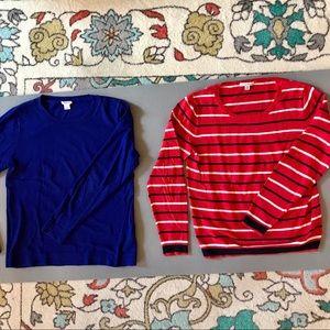 2 J CREW factory lightweight sweaters, M